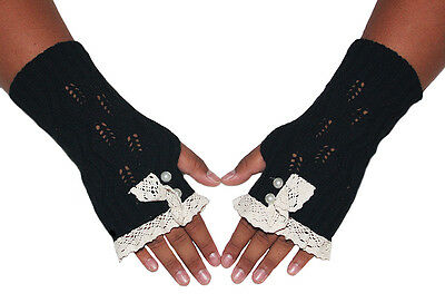 Women's Cotton Lace Cable Single Button Knit Fingerless Gloves Mittens