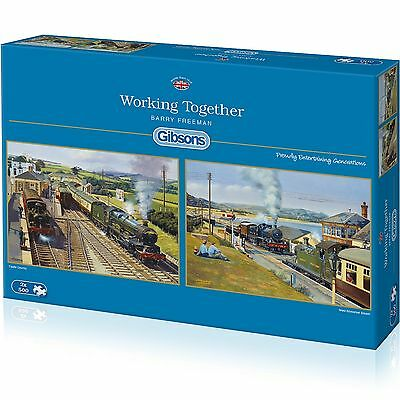 GIBSONS WORKING TOGETHER STEAM TRAINS & RAILWAYS 2 x 500 PIECE JIGSAW PUZZLE