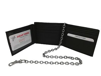 Trucker Cowhide Leather Men's Bi-fold Wallet with & without Chain Wallet