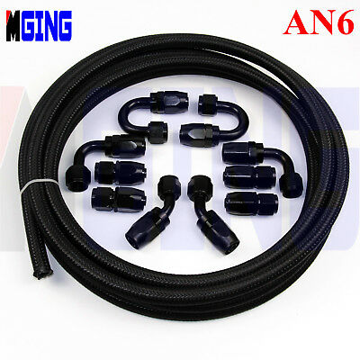 AN6 AN 6 6AN Stainless Steel Nylon Braided Oil Fuel Line 3M + Hose End Fitting