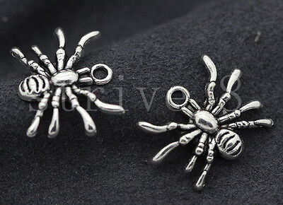 New 10/40/200pcs Antique Silver Lovely spider Jewelry Charms Pendant DIY 19x14mm