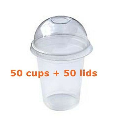 100 Pieces Plastic cups Cold cups and dome lids 18 OZ , 540ml (50cups+50lids)