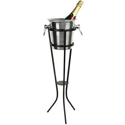 Aluminium Champagne Wine Ice Bucket 4 ltr with Wrought Iron Stand