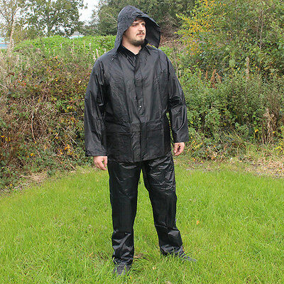 Jacket and Trousers Waterproofs Set - Black - Coat Hiking Walking All Sizes New