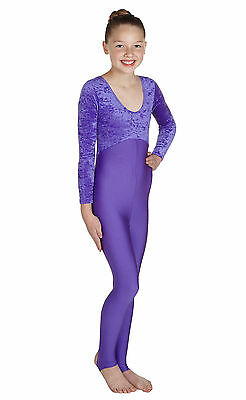 Catsuit Long Sleeve Plain Front - Crushed Velvet + Matching Lycra (#VIKKI)
