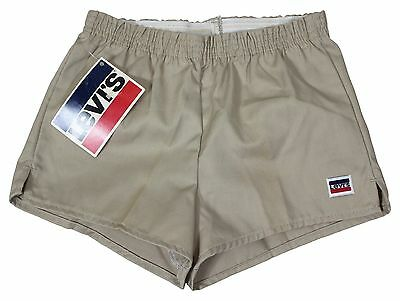 "NEW VTG 80s LEVIS Khaki SHORT SHORTS 28"" Waist Youth Large 50/50 Made In USA !"