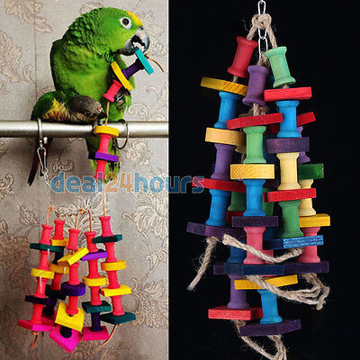 Colorful Wood Pet Bird Parrot Macaw Swing Foot Scratcher Toys Parrot Bites Toy