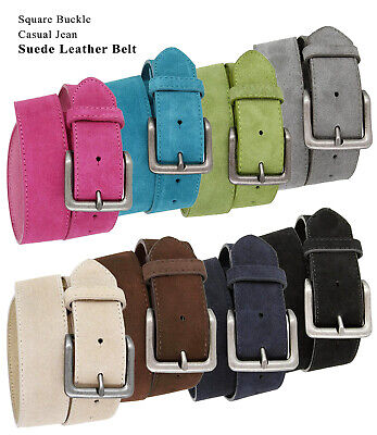 "Suede Leather Casual Jean Belts With Silver Buckle, 1-1/2"" Wide Size 30-46!!"