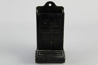 Vintage Matchbox holder Advertising Gas Oil Confectionary Dixie Star Service