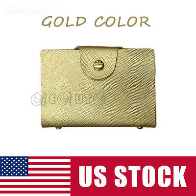 Genuine Leather Business Case Wallet ID Credit 20 Cards gold Card Holder Purse