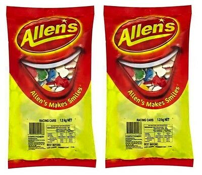 Bulk Lot 2 x Allens Racing Cars 1.3kg Bgs Sweets Treats Candy Buffet Lollies New
