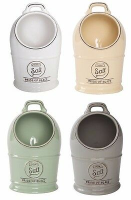 T&G Woodware Pride of Place Salt Pig Jar Pot In Cream Green Grey White P