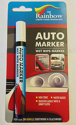White Auto Marker Pen - Waterproof, Wet Wipe Removable, Windscreens And Panels