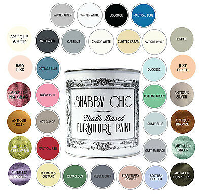 Shabby Chic Chalk Based Furniture Paint Waterbased 250Ml Available In 35 Colours