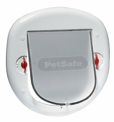 Staywell - Pet dog door / cat flap. 4 way locking. White. Large cats, Small dogs