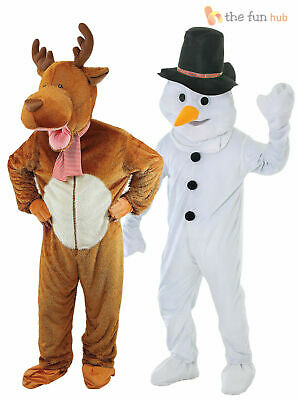 Adult Deluxe Christmas Mascot Costume Snowman Rudolph Big Head Fancy Dress Funny