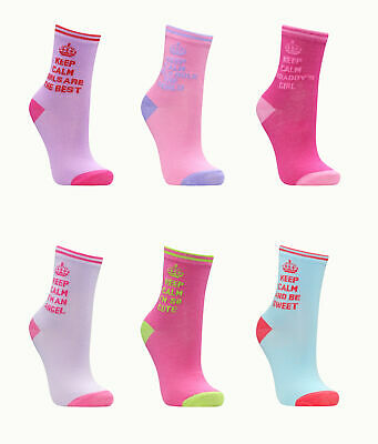 METZUYAN Girls Cotton Rich Novelty Socks 3 Pack Keep Calm Printed Fun Cute