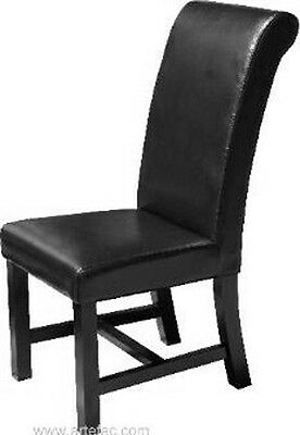 Black Roll Back Leather Dining Chair RV-402