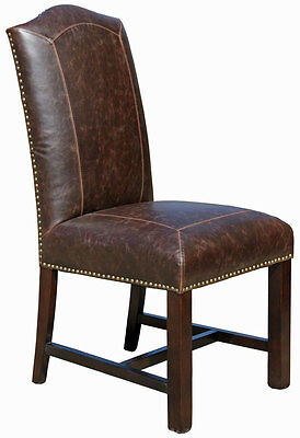 Antique Brown Leather Dining Chair R-321