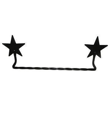 "Primitive Black Wrought Iron Towel Bar with Stars.  16"" Country Towel Holder"