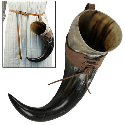 All Natural Handcrafted XL Drinking Bovine Horn with Brown Leather Belt Frog
