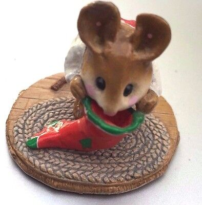 Wee Forest Folk  M-142 Chris Mouse Stocking - FREE FED-EX OVER NIGHT shipping