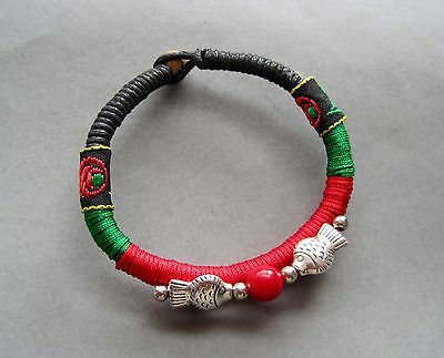 Handcrafted Alloy Metal Happy Lucky Fishes Beads Bracelet Chinese Vintage Style