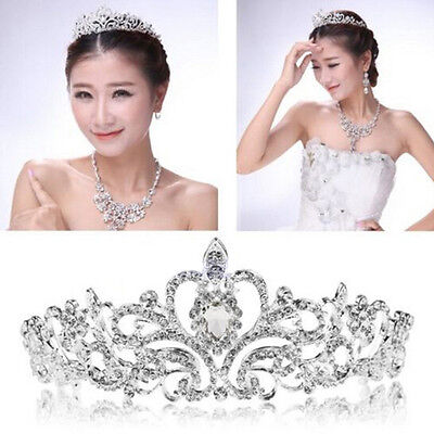 Princess Bridal Austrian Stunning Crystal Hair Tiara Wedding Crown Veil Headband