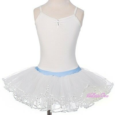 Girl Diamante Ribbon Ballet Tutu Dancewear Fairy Costume Leotard Size 3T-8 #057