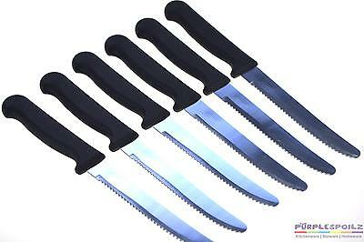 NEW ROUND TIP STEAK KNIFE SET Plastic Handle Knives Handle Stainless Steel