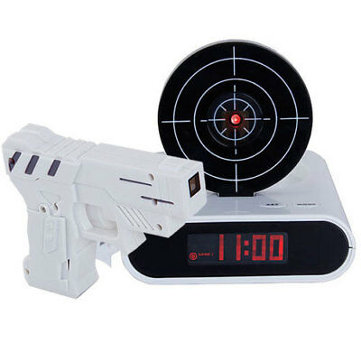 Laser Gun Target Alarm Waken LCD Desk Clock Gadget Novelty Shooting Toy Gift