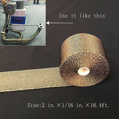 "Titanium Exhaust/Header Heat Wrap, 2"" x 16.4ft. Roll With Stainless Ties Kit H"