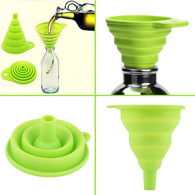 New Mini Silicone Gel Foldable Collapsible Style Funnel Hopper Kitchen Tool N1