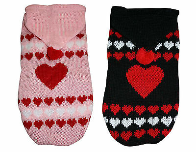 Winter Christmas Xmas Pet Clothes Dog Cat Heart Sweater Knit Jumper With Hood