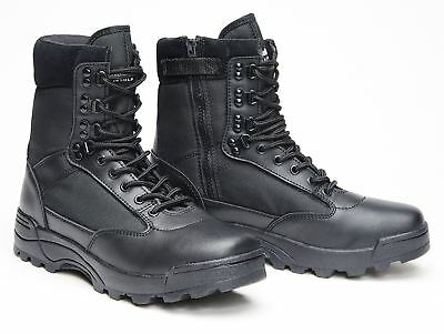 Brandit Mens Tactical Military Combat Side Zip Boots Police Leather Footwear