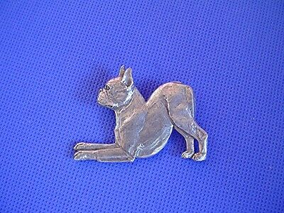Boston Terrier Pewter pin Playing #57C Pewter dog jewelry by Cindy A. Conter