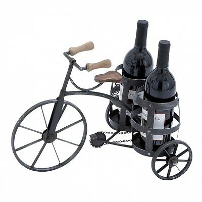 Urban Designs Antique Style Black Metal Tricycle Wine Bottle Holder. Shipping In