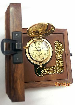 Artshai Golden Pocket watch with cover and sheesham wood box. Excellent gifting