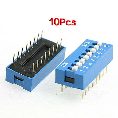 10 pcs 2.54mm Pitch 8 Positions 16 Pin Blue DIP Switch 8P LW SZUS