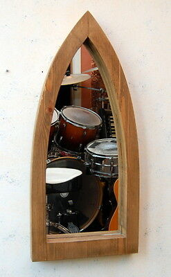Gothic Arch Wooden Darkened Pine Wall Mirror Waxed 75 cm Long Hand Made