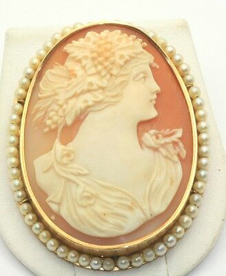 Massive Large Cameo & Pearl Pin Brooch 14K Gold Hand Carved Vintage Estate
