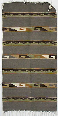 """ZAPOTEC INDIAN MEXICAN  RUG  100% WOOL  HAND WOVEN 30"""" x 60"""" ZR30008"""