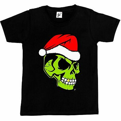 Gold Tooth Green Skull Santa Hat Christmas Grinch Kids Boys / Girls T-Shirt