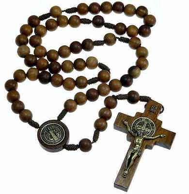 Wooden St Benedict Rosary Beads with Medallion Junction - UK seller