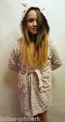 Primark Girls Hooded Dressing Gown Short Robe Leopard Age 7 - 13 Years New