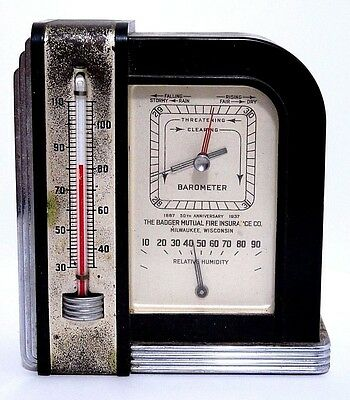 Airguide Trio Humidity Barometer Thermometer Badger Mutual Fire Art Deco Vintage