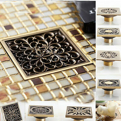 Antique Brass Flower Square Shower Drain Floor Waste Drain Cover Strainer fhr014