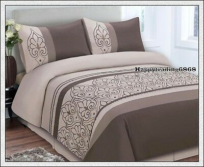 Chocolate Latte  Embroidery KING QUEEN QUILT DOONA DUVET COVER 2 PILLOWCASES SET