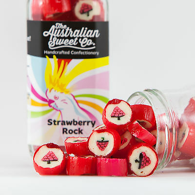Strawberry Rock Candy Boiled Bulk Lollies - Wedding Favours Party Christmas