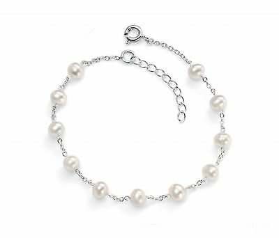 925 Sterling Silver 'Elements Silver' White Cultured Freshwater Pearl Bracelet